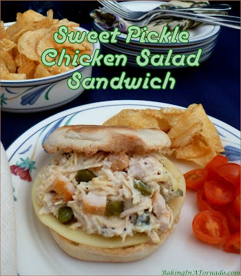 Sweet Pickle Chicken Salad Sandwich, lunch in a minute. Chopped sweet pickles and a little poppy dressing add flavor to precooked shredded chicken. | Recipe developed by www.BakingInATornado.com | #recipe #chicken