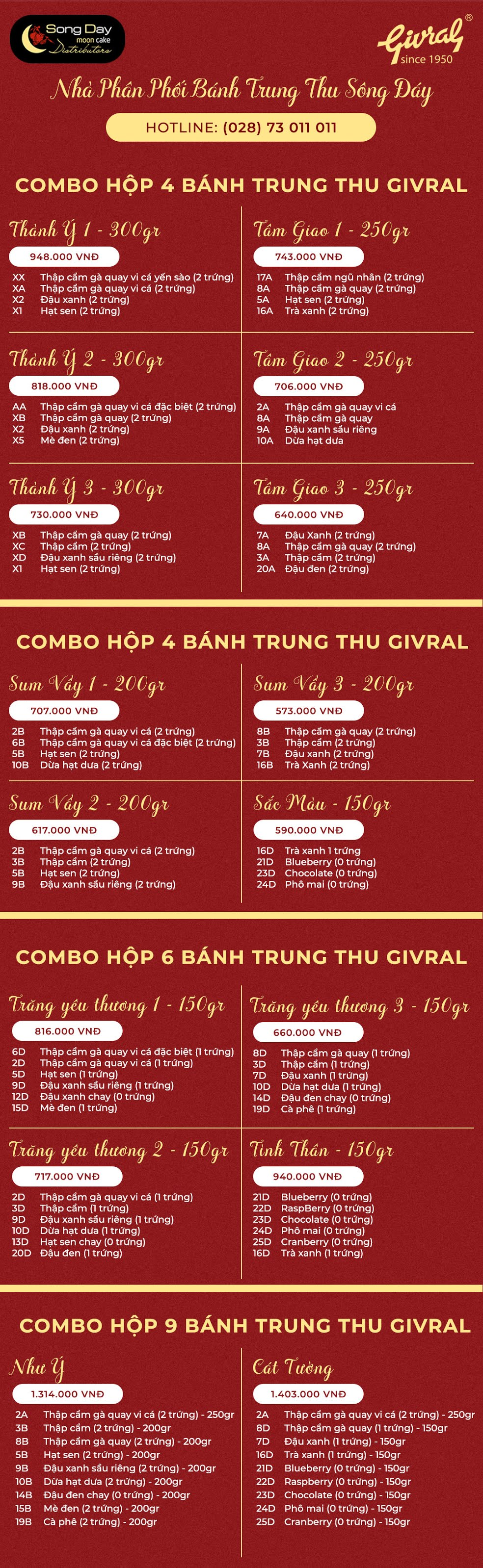 combo bánh trung thu Givral 2019