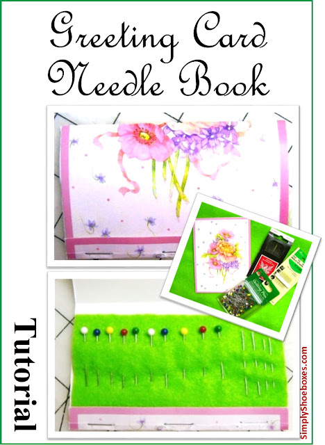 Upcycled greeting card Needle Book tutorial.  Made for an Operation Christmas Child shoebox.