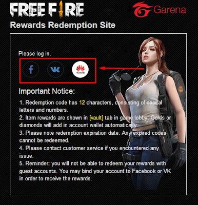 Redeem kode Free fire