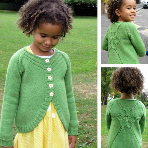 Knit Children Cardigan Flower - Free Pattern
