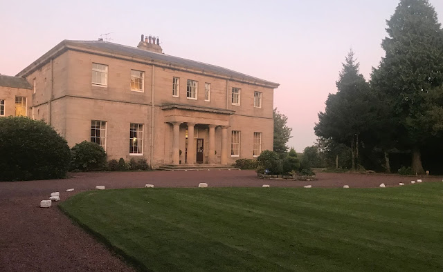 Outside Linden Hall in Northumberland at sunset