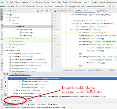 cara mengganti package name android studio