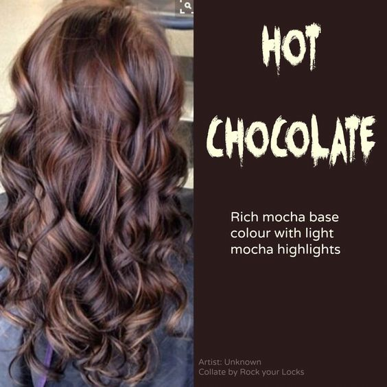chocolate brown hair with light mocha highlights