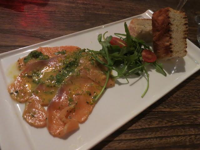 Sliced fresh marinated salmon