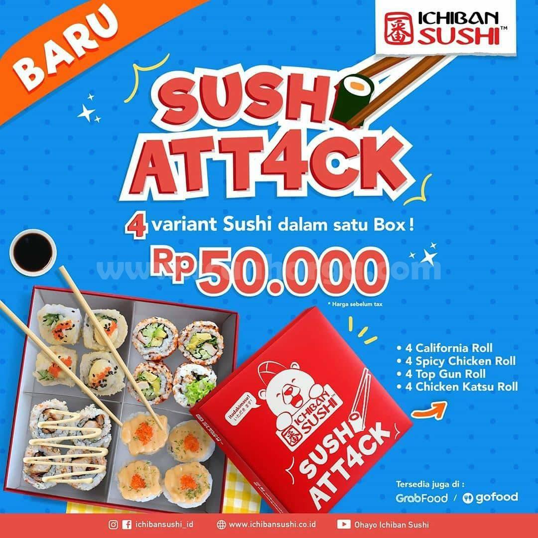Ichiban Sushi Promo Sushi Att4ck - 4 varian sushi dalam 1 box cuma 50 RIBU aja!