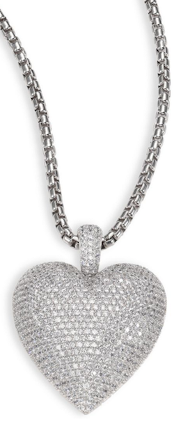 Adriana Orsini Large Pavé Heart Pendant Necklace