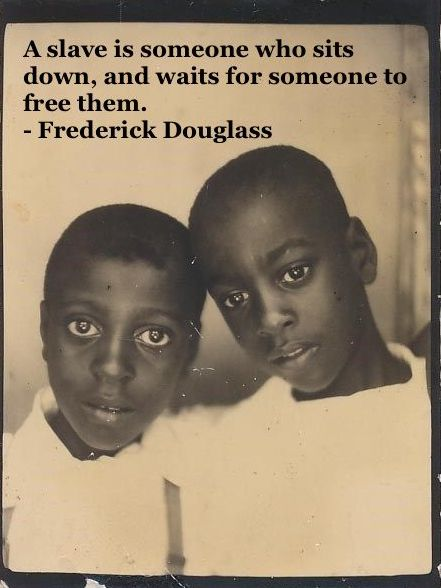 Photo two young black brothers. c. 1940s Slavery quote by Fredrick Douglass. Other stories of Racism and Civil Rights. Well said, Mr. Douglass. marchmatron.com