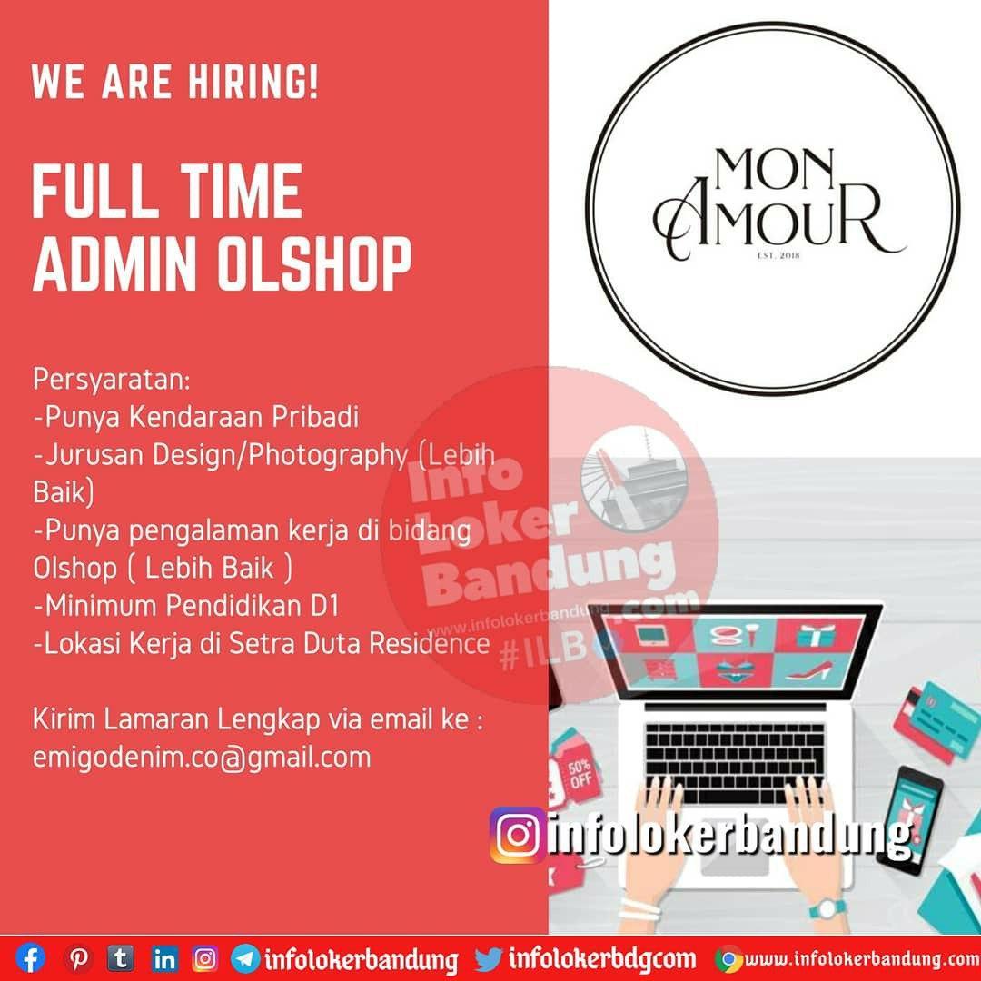 Lowongan Kerja Full Time Admin Online Shop Mon Amour Bandung Agustus 2020