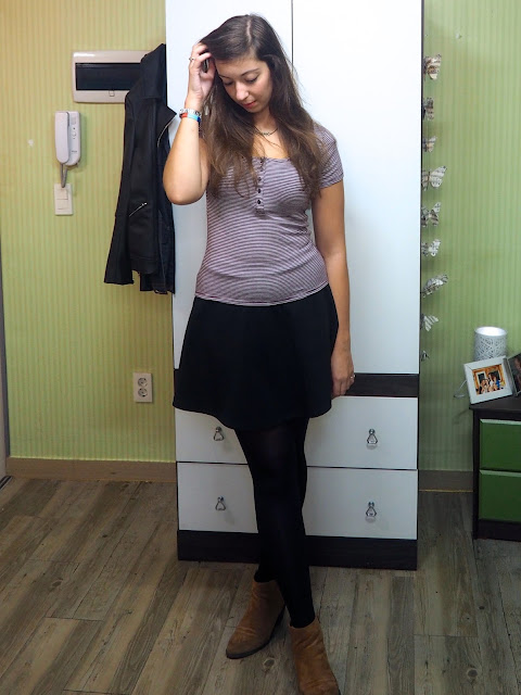 New Addition | outfit of purple and white striped t-shirt, black skater skirt and brown ankle boots