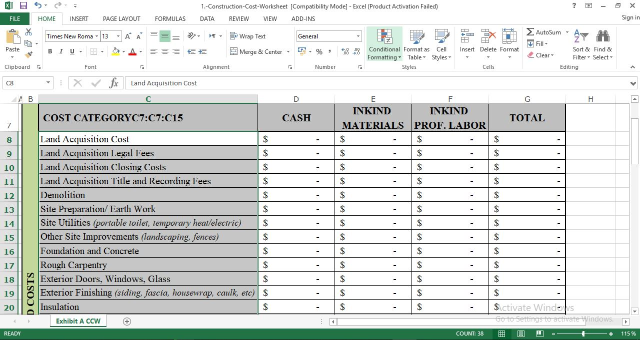 Download Construction Cost Template in Excel