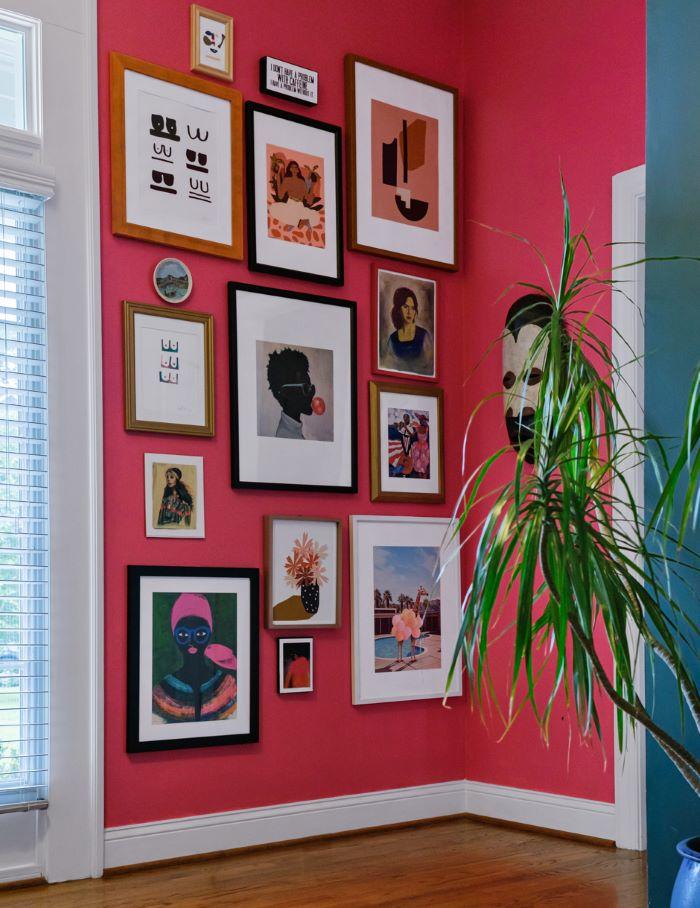 Gallery Wall on Pink Wall-designaddictmom