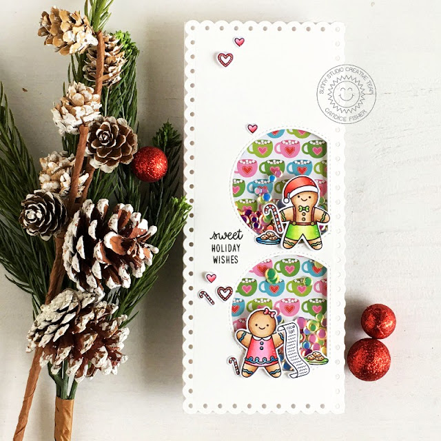 Sunny Studio Stamps: Christmas Cookies Santa Claus Lane North Pole Christmas Card by Candice Fisher