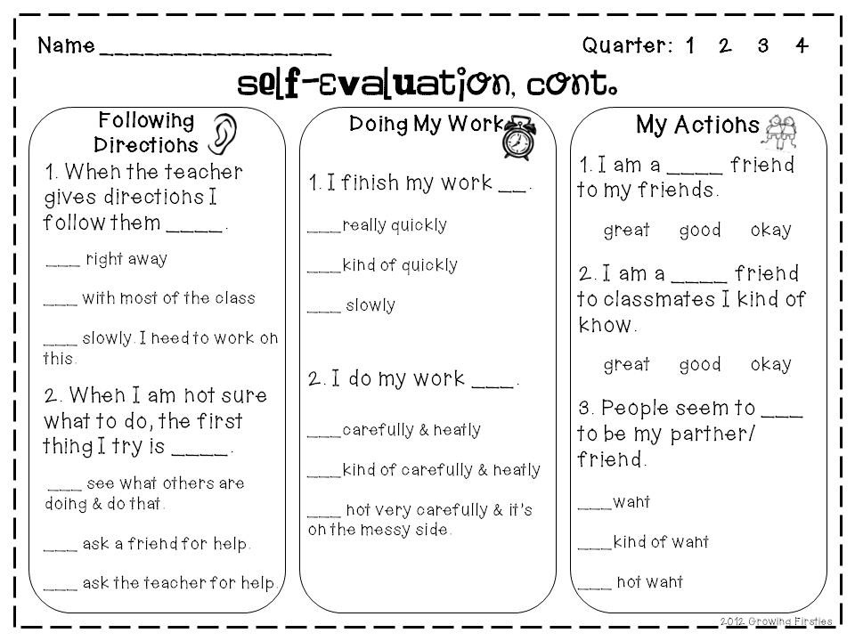 Self-Evaluation Freebie Growing Firsties