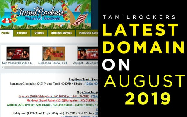 On August 2019] Tamilrockers Latest Domain And Website Link