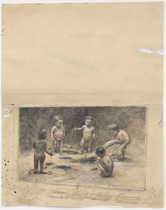 drawing Michaël Borremans The Feast, 2019 pencil and white ink on paper 26,7 x 21,2 cm
