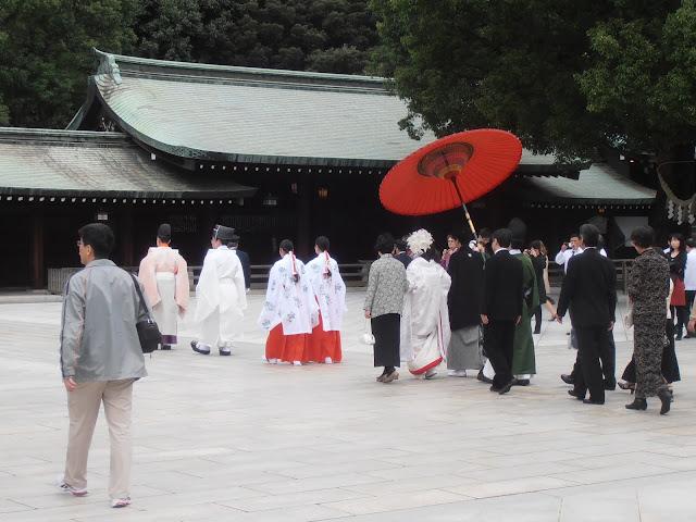 Celebración de una boda sintoista en el santuario Meiji