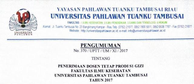 Penerimaan Dosen Tetap Universitas Pahlawan Tuanku Tambusai Hingga 30 November 2017