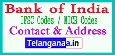 Bank of India IFSC Codes MICR Codes in India