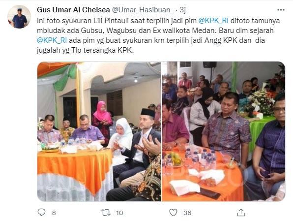 Dilaporkan ke Polisi, Foto Syukuran Pimpinan KPK Lili Pintauli Bersama Pejabat Disebar