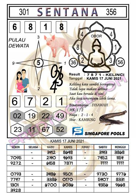 Syair Sentana Singapura sabtu 19-juni-2021