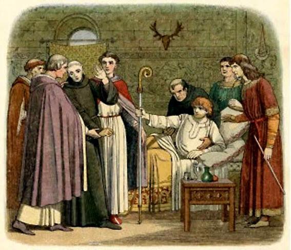 Santo Anselmo conduzido ante o Rei Guilherme II Ilustração do Uma Crônica da Inglaterra de James Edmund Doyle