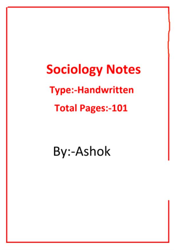 समाजशास्त्र हैण्ड रिटेन नोट्स, अशोक द्वारा : यूपीएससी परीक्षा हेतु हिंदी पीडीऍफ़ पुस्तक | Sociology Hand Written Notes by Ashok : For UPSC Exam Hindi PDF Book