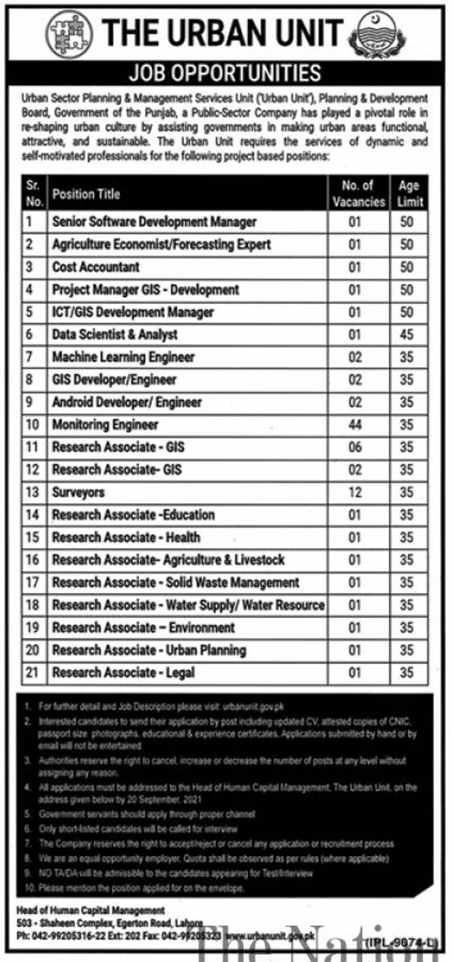 The Urban Unit Jobs 2021 – Application Form via www.urbanunit.gov.pk
