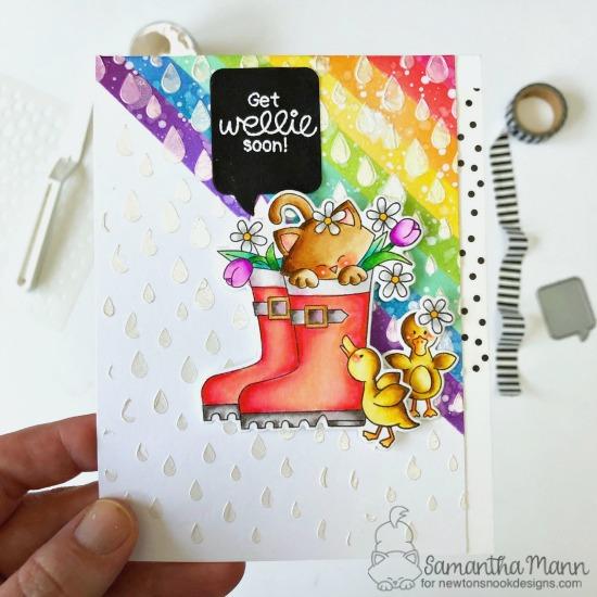 Kitty in Rain Boots Get Well Card by Samantha Mann | Newton's Rain Boots Stamp Set, Speech Bubbles Die Set and Raindrops Stencil by Newton's Nook Designs #newtonsnook #handmade