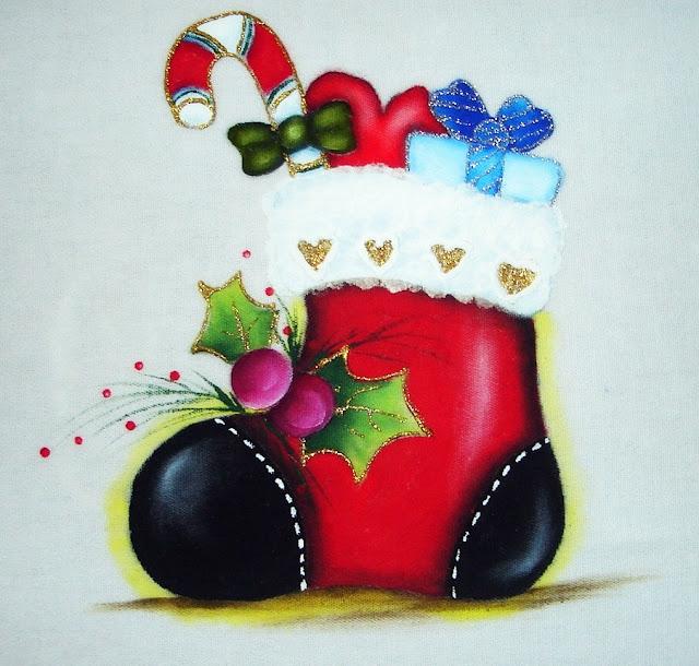 pintura em tecido motivo natalino pano de prato