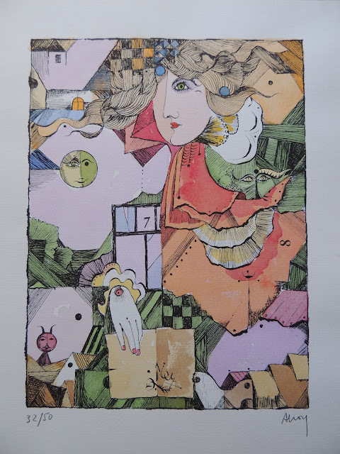 Eduard Alcoy litografía serie tarot con rey y numerología