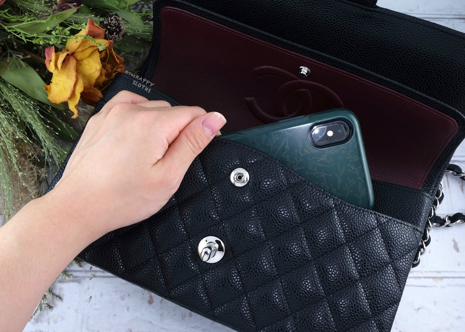 Chanel   Medium Classic Flap Handbag in Black Caviar Leather with Silver Hardware   Front Slip Pocket: Review