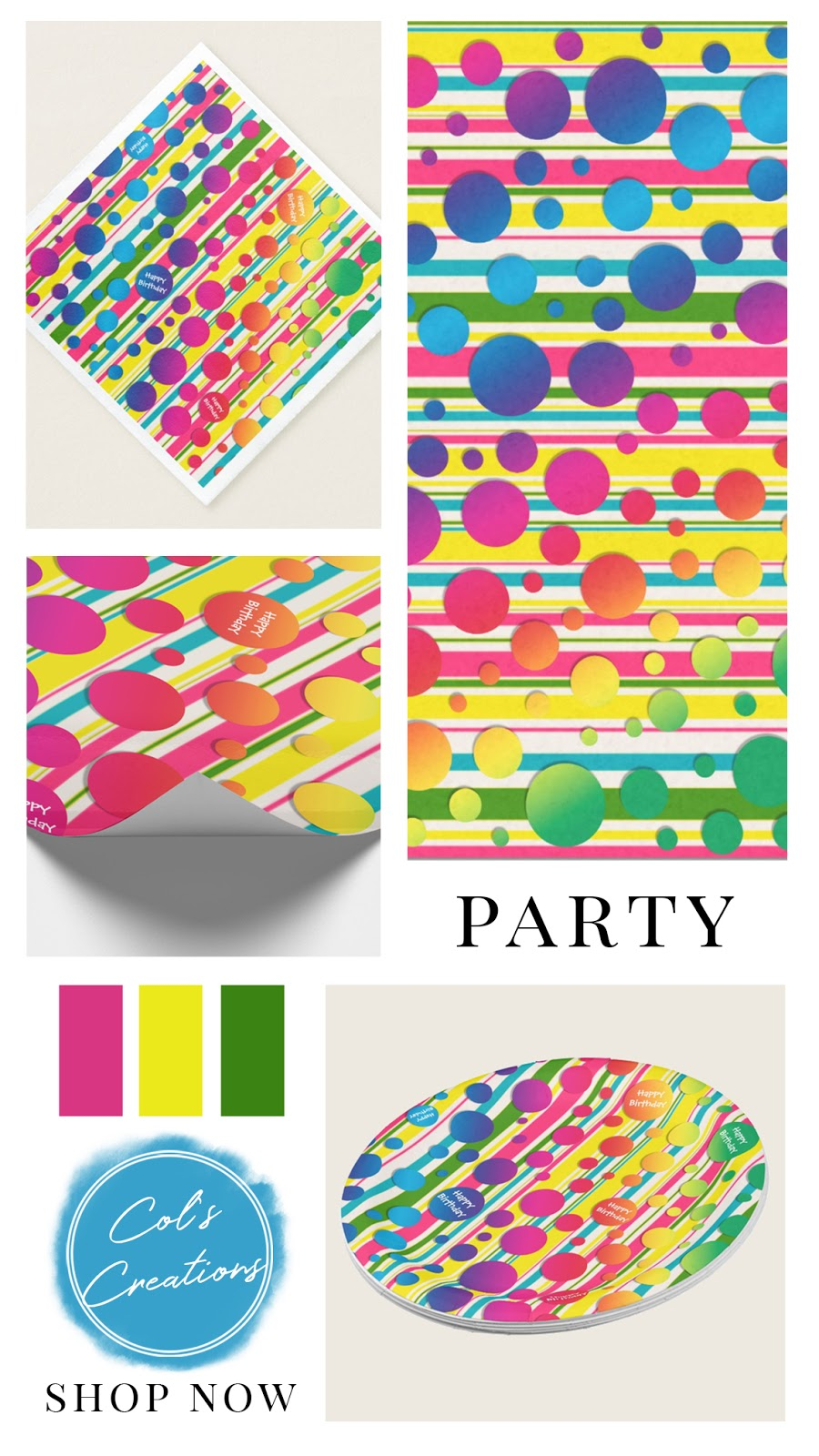 Neon bubble dots and stripes in rainbow colors. Birthday party collection including napkins, paper plates, gift wrap, and tissue paper. Neon yellow, pink, green, and blue color palette.