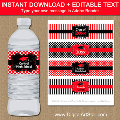 red and black editable graduation water labels with stripes and polka dots
