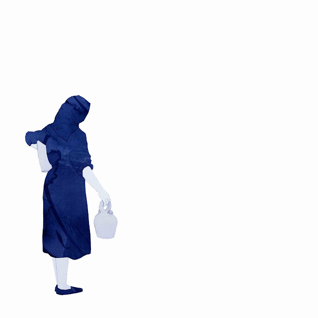 azulejo, cerámica azul, mujer, dos botijos