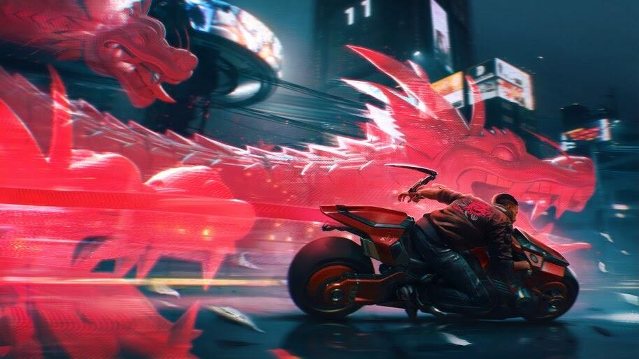 Cyberpunk 2077, V, Motorcycle, Dragon, 4K, #3.2281