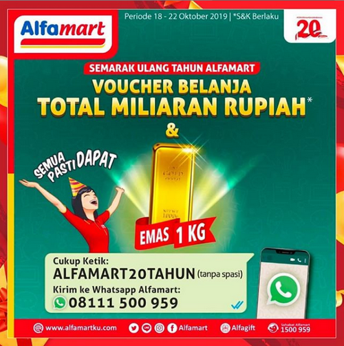 Kuis Whatsapp Ultah Alfamart Berhadiah Utama EMAS 1 KILOGRAM