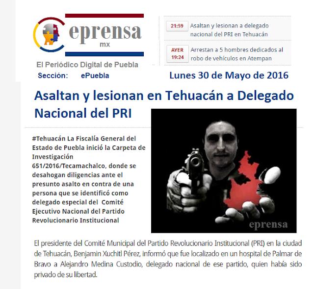 Asaltan y lesionan en Tehuacán a delegado nacional del PRI