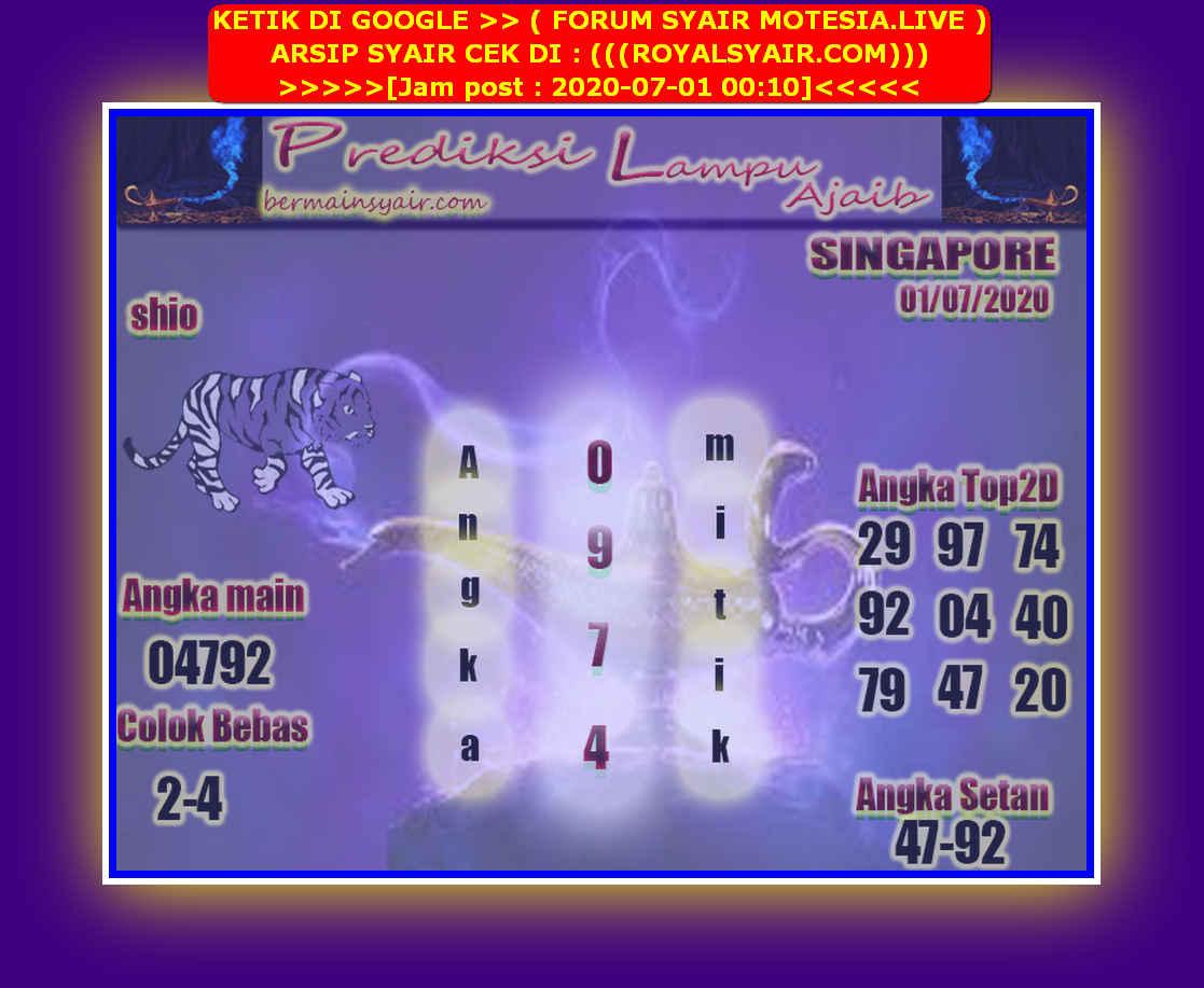 Kode syair Singapore Rabu 1 Juli 2020 208