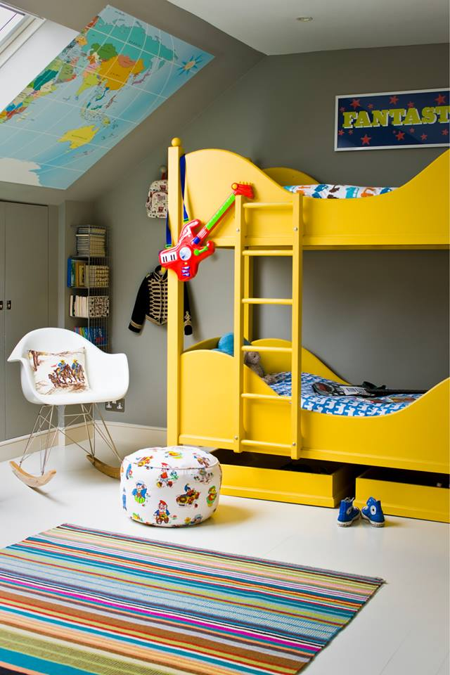 Happy kids' room with bright yellow bunk bed- design addict mom