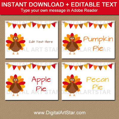 Thanksgiving Food Labels and place cards