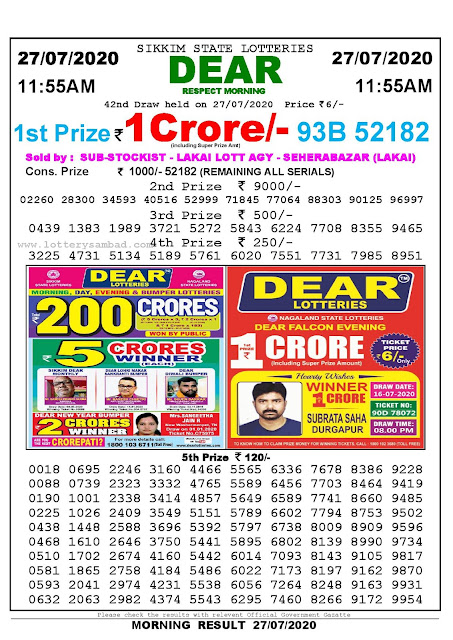 Sikkim State Lotteries 27-07-2020 Lottery Sambad Result 11:55 AM