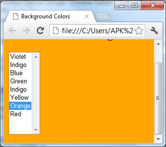 listbox select option control change background color javasript