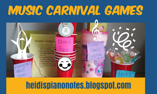 Music Carnival Games for Piano Group Lessons including Fishing For Music Terms, Lucky Lolly