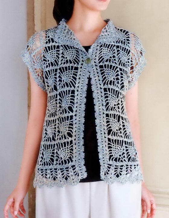 Crochet Vest For Women - lace Pineapple Vest