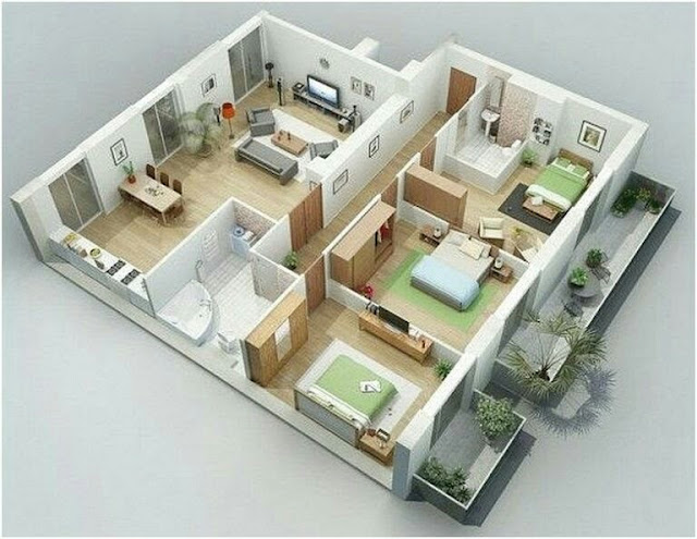 Small House Plans With 3 bedroom 3D Photos