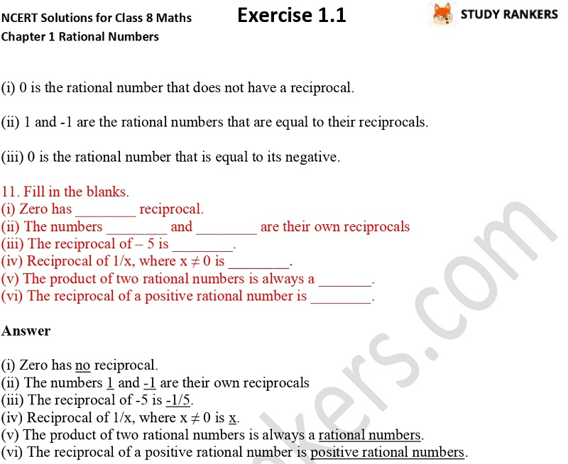 NCERT Solutions for Class 8 Maths Chapter 1 Rational Numbers Exercise 1.1 Part 4