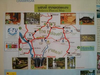 Carte de Bolaven Plateau Plateau