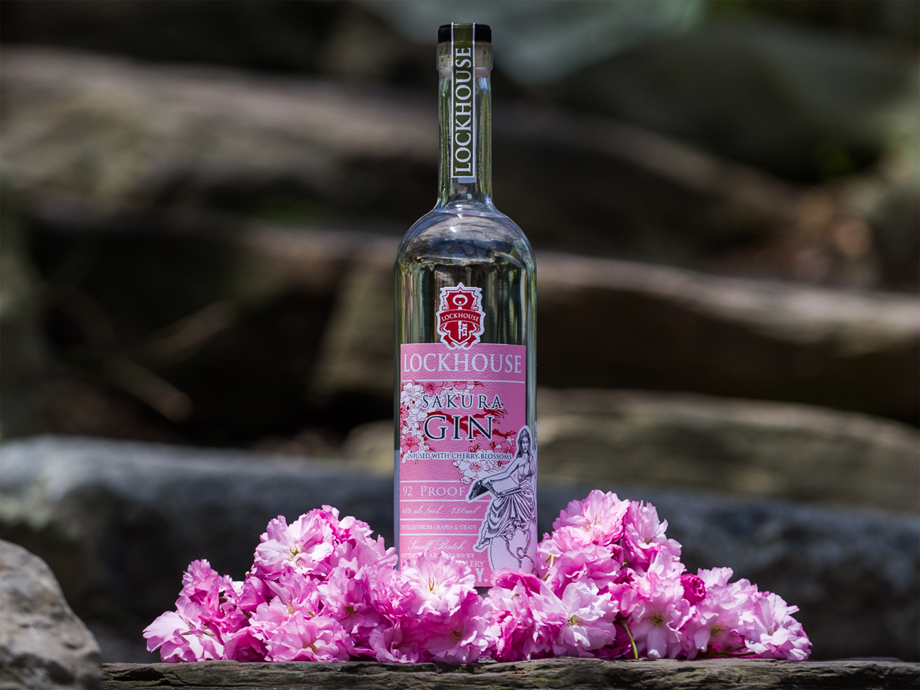 A bottle of Lockhouse Distillery's seasonal Sakura Gin