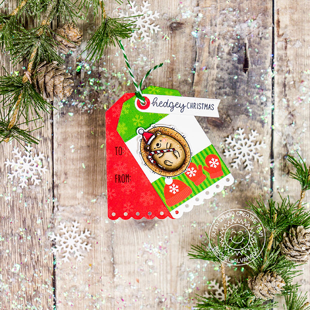 Sunny Studio Stamps: Hedgey Holidays Build-A-Tag Dies Holiday Tags by Rachel Alvarado